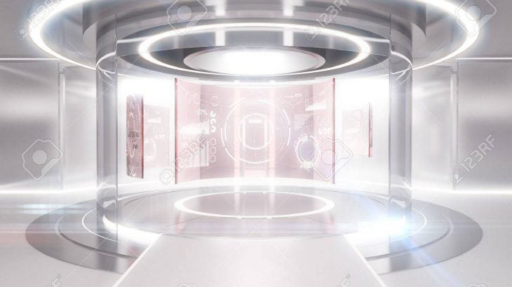 ۷۴۳۴۹۴۸۵-abstract-glowing-light-teleportation-station-with-business-panels-future-concept-3d-rendering